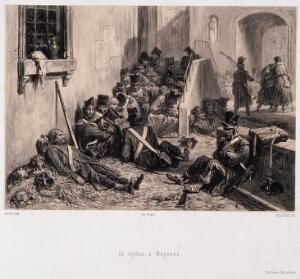 view Soldiers suffering from typhus, lying in the streets. Lithograph by E. Leroux after A. Raffet.