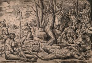 view The Israelites afflicted by a plague of serpents; two men worshipping the brazen serpent erected by Moses. Engraving by M. Coxcie, 15--.
