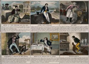 view A broadsheet illustrating 24 maladies and giving remedies. Coloured line block by F. Laguillermie and Rainaud.