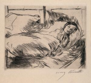 view A sick child (Das Kranke Kind). Drypoint by L. Corinth, 1918.