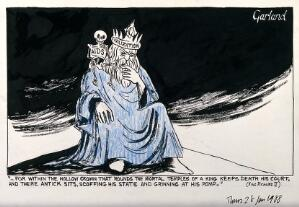 view Allegory of civilisation and AIDS in the character of Richard II. Ink drawing by N. Garland, 1988.
