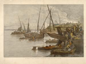 view Egyptians boarding boats on the Nile during a cholera epidemic. Coloured wood engraving by W.J.P. after C. Loye.