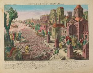 view The first plague in Egypt, rivers turned to blood. Coloured etching.