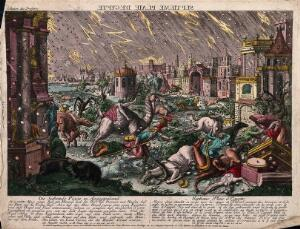 view The plague of hail and thunder. Coloured etching.