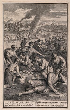 view The Israelites struck by plague while eating quails. Engraving by A. de Blois after G. Hoet.