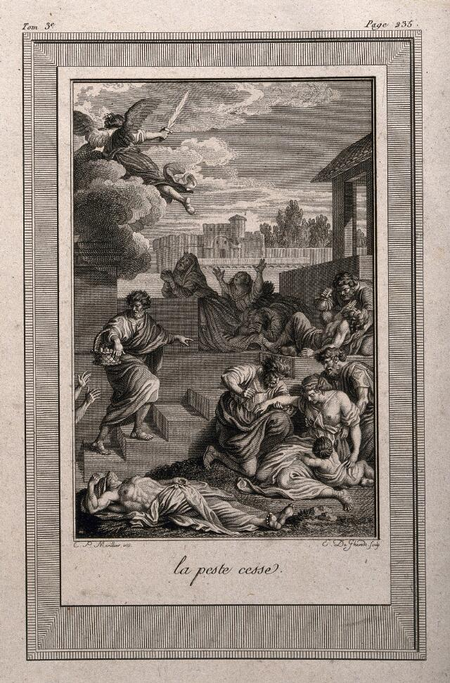 The cessation of plague, brought about by the angel of God. Etching by E. de Ghendt after C. Marillier.