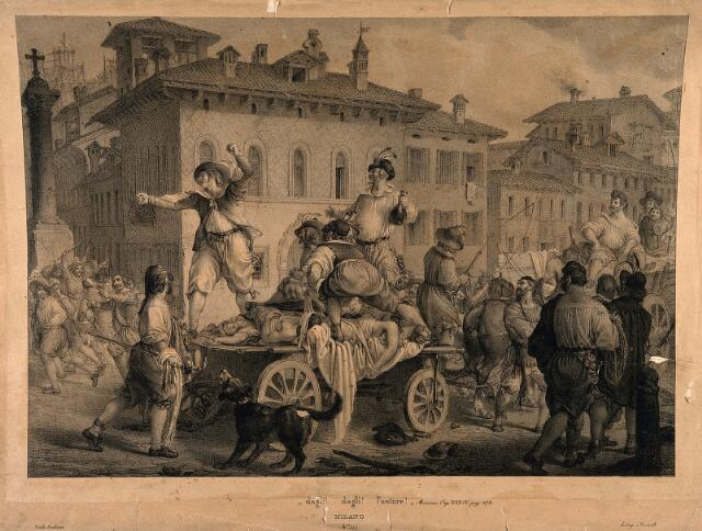 Accusing the anointers in the great plague of Milan in 1630; a scene from Manzoni