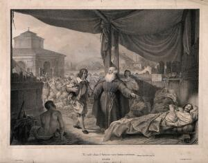 view A monk visiting the victims of the great plague of Milan in 1630; an episode in Manzoni's 'I promessi sposi'. Lithograph by G. Gallina after A. Manzoni.