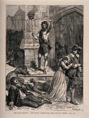 view A man in rags announcing the forthcoming doom, during the great plague in London. Wood engraving by A.B. Frost.
