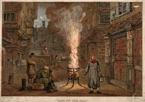 view A street during the plague in London with a death cart and m