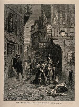 view Two men discovering a dead woman in the street during the gr