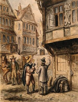 view A cart for transporting the dead in London during the great plague. Watercolour painting by or after G. Cruikshank.