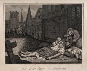 view Two women lying dead in a London street during the great plague, 1665, one with a child who is still alive. Etching after R. Pollard II.