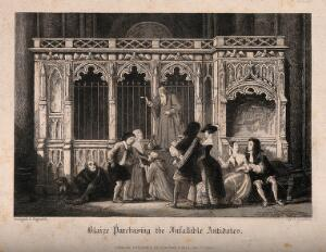 view People strolling and buying plague antidotes in old St Paul's Cathedral, London. Etching by J. Franklin.