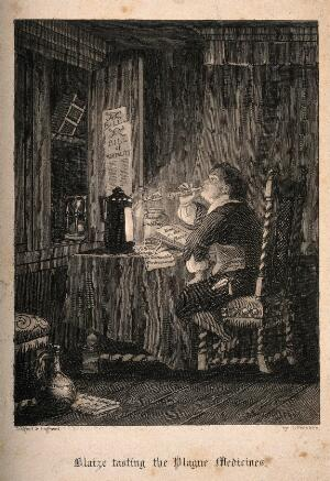 view A man consuming many antidotes to the plague during the Great Plague of London. Etching by J. Franklin, 1841.