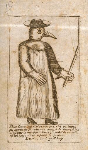 view A physician dressed in protective plague costume. Line engraving after J.J. Manget.
