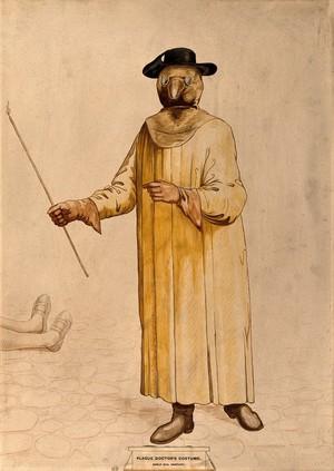 view A physician wearing a seventeenth century plague preventive costume. Watercolour.