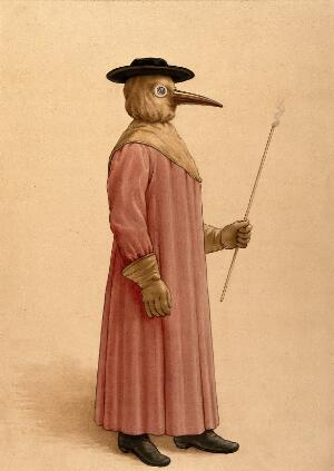 view A physician wearing a 17th century plague preventive