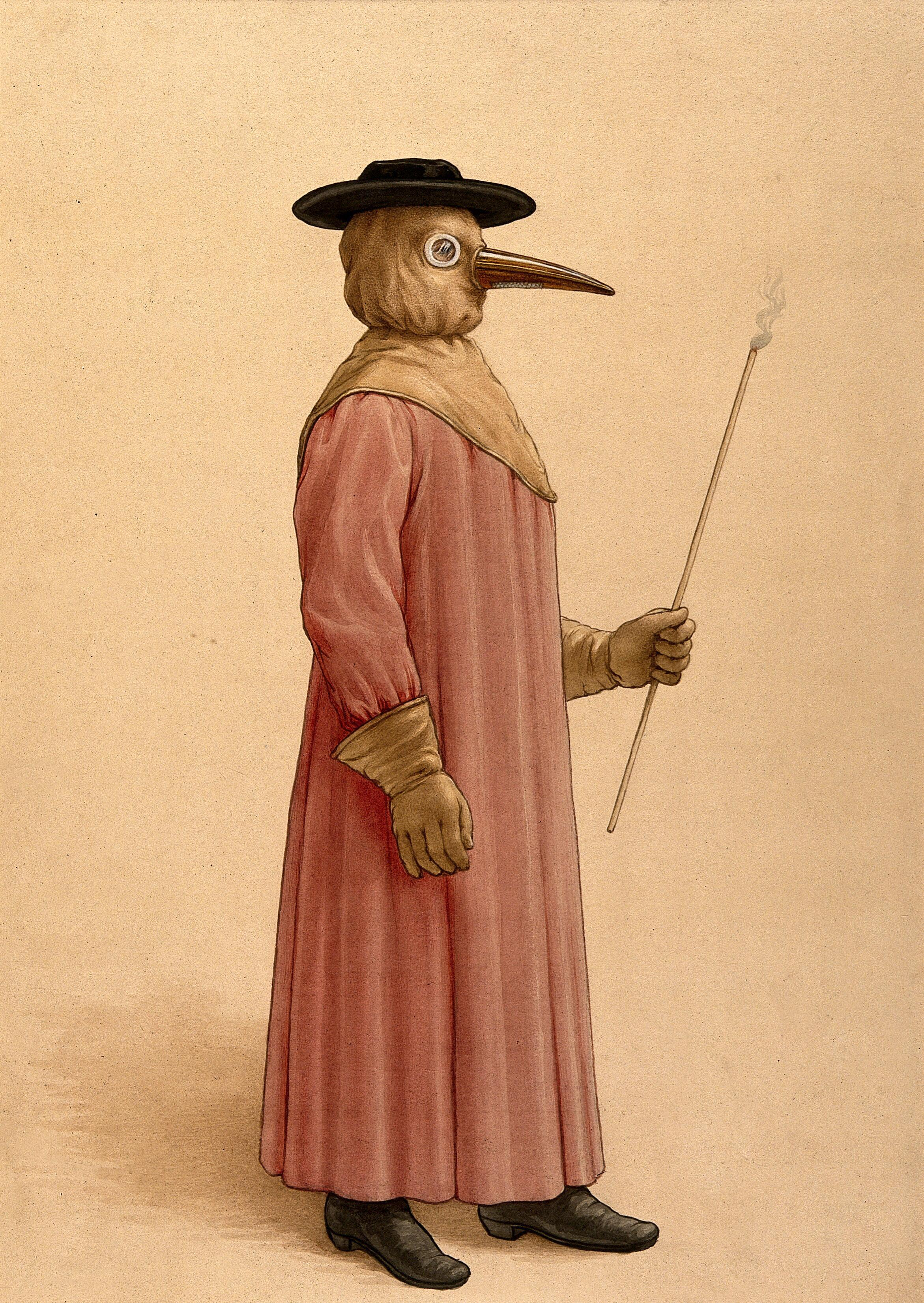 A physician wearing a 17th century plague preventive