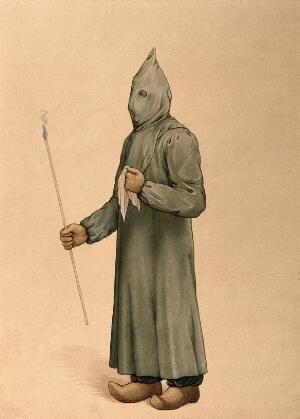 view A physician wearing a plague preventive costume in Marseille, 1720. Watercolour, 19--.