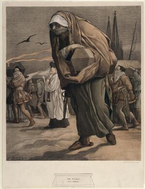 view A mother bearing her child's coffin in a funeral procession for victims of the plague. Colour lithograph after F. Jenewein, 1900.