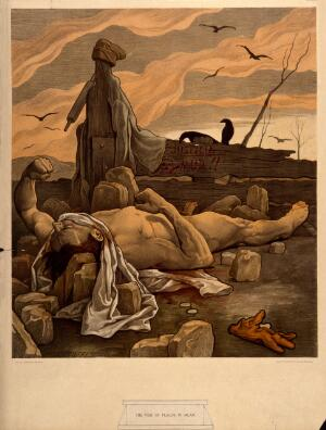 view A dying man, stoned on suspicion of spreading the plague. Colour lithograph after F. Jenewein, 1899.