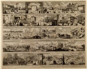 view Episodes from the outbreak of plague in Rome, 1656. Etching.