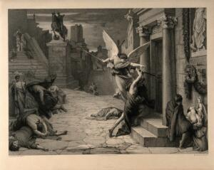 view The angel of death striking a door during the plague of Rome. Engraving by J.G. Levasseur after J. Delaunay.