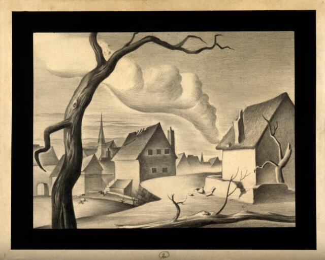Smoke from a fire in a desolate town indicates the beginnings of plague. Drawing by A.L. Tarter, 194-.