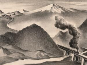 view A steam train transporting its passengers and plague through countryside and towns. Drawing by A.L. Tarter, 194-.