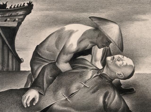 A man dying from the plague in Manchuria. Drawing by A.L. Tarter, 194-.