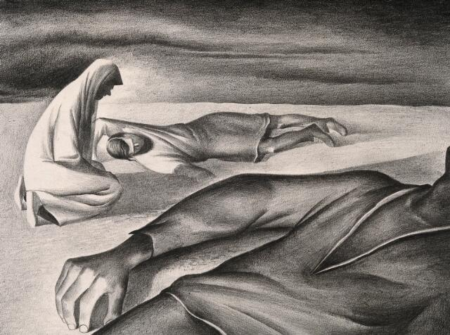 People dying, as a result of the plague. Drawing by A.L. Tarter, 194-.