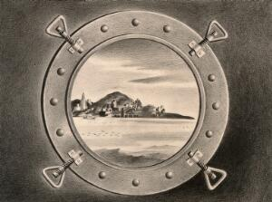 view New York seen through the porthole of an arriving ship, bringing the plague. Drawing by A.L. Tarter, 194-.
