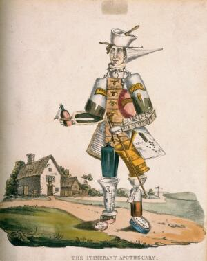 view Itinerant apothecary, caricature, c.1830