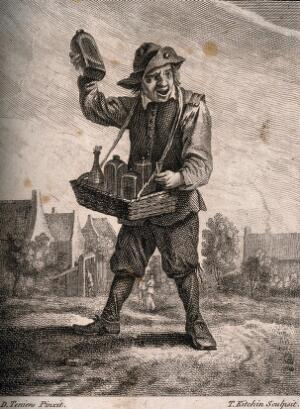 view A country pedlar selling medicines from a basket. Etching by T. Kitchin after D. Teniers the younger.