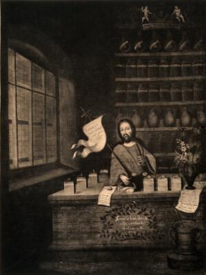 view Christ as apothecary; suggesting the idea of Christ as the universal healer. Reproduction of a photograph of an oil painting after J. Marie Appeli, 1731.