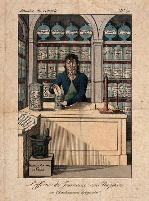 view A sour faced apothecary putting together a prescription. Coloured engraving.