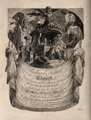 view A pharmacist in his workshop surrounded by the paraphernalia of his trade - advertising Richard Siddall. Etching.