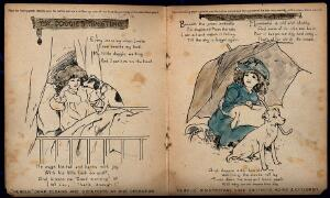 view A little girl waking to see her dog on her bed in the morning (left) and sheltering with her dog in the rain (right); advertising Nubolic soap. Lithographs by A. Reeve.