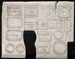 view A sheet of designs of labels for a French pharmacist, Fialon-Bataille. Etching.