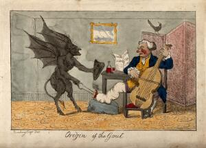 view A gouty man who is drinking wine and playing the cello; the pain is represented by a devil burning his foot. Coloured etching after H.W. Bunbury.