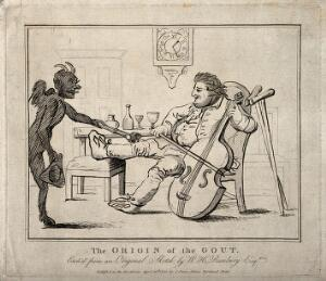 view A gouty man drinking wine and playing the cello; the pain is represented by a devil burning his knee. Etching, 1785, after H.W. Bunbury.