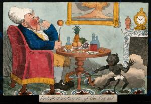 view A self-indulgent man afflicted with gout: the pain is represented by a demon burning his foot. Coloured lithograph by G. Cruikshank, 1818, after Captain Hehl.