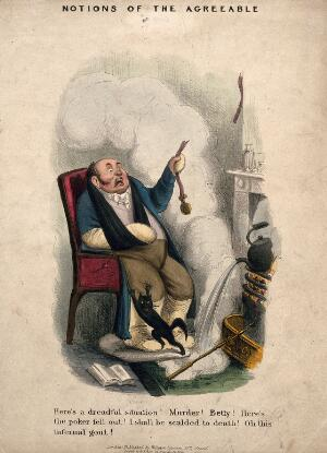 view A man, decrepit with gout, helpless in his own home. Coloured lithograph.