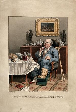 view A gouty man savouring his feast. Coloured aquatint by G. Hunt after E.Y.