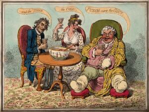 view An obese gouty man drinking punch with two companions. Coloured etching by J. Gillray, 1799.
