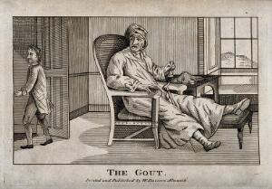 view A disgruntled gouty man ringing a bell for his servant who is just leaving the room. Etching.