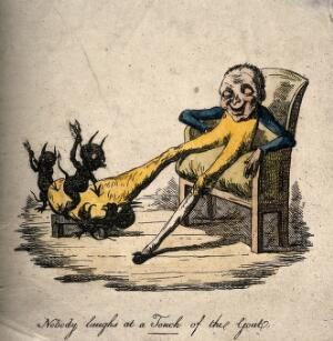 view A gouty man suffering with a painfully enlarged foot; presented by demons prodding it with arrows. Coloured etching, 1814.