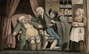 view An obese gouty man with his feet in buckets. Coloured aquatint.