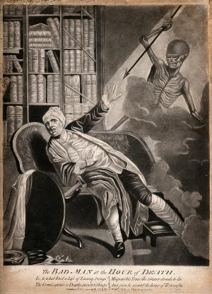 view A gouty man startled by death; represented as a skeletal figure wielding an arrow. Mezzotint, 1794.